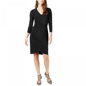 NWT Ruched V-Neck 3/4 Sleeve Dress Medium Black